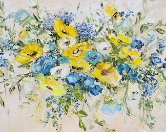 Blue Grey Abstract Flowers Yellow White Beige Oil Painting Flowers Impasto Roses Peonies Textured Painting Palette Knife Large Original Art