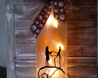 Nightmare Before Christmas Decorations Jack And Sally Moon Lighted Wine Bottle Lamp