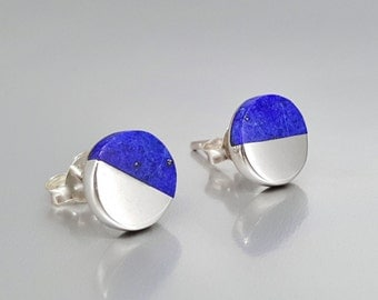 Round Lapis Lazuli stud earrings with Sterling silver - half and half - gift holiday season - blue and silver - modern design-genuine stone