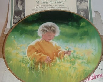 1989 A Time For Peace March of Dimes Our Children Our Future Plate Plate w COA Box