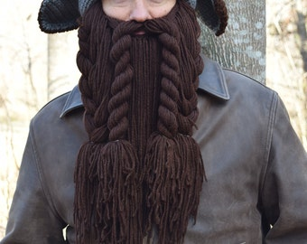 Dwarf Hunter Trapper Hat and Beard Costume