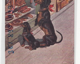 Artist Hanke Dachshund Dog Stops To Look At Sausages In The Butcher Shop; Antique Postcard C1910