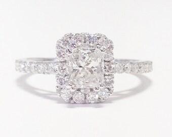 1.25CT Diamond Radiant Cut Halo Engagement Ring Anniversary Band Wedding Bands Rings Diamonds Platinum, 18K, 14K White, Yellow, Rose Gold