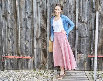 Rose-linen-skirt I boho-maxi-skirt wrap-skirt I long skirt natural I wide linen skirt rose-maxi-skirt