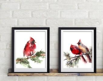 Art Print Set, Cardinal birds prints, set of 2, watercolor print, bird painting art, watercolor painting, wall art