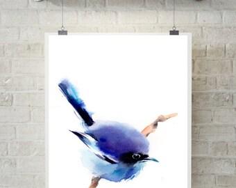 Blue bird art print, watercolor painting of bird, bird art, wall art, bird watercolor illustration, Bird Art