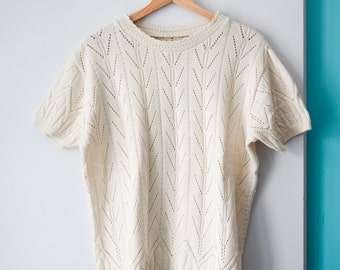 SALE Vintage off-white knit top, fits many