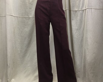 High Waisted Wide Leg Pants, Burgundy, Women's Flaired Slacks Small Happy Legs 70s Bell Bottoms