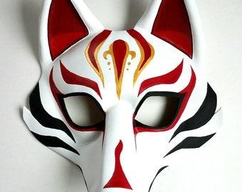 Leather Fox Mask Japanese Fox Mask Kabuki Style Kitsune Mask Sylized Wolf Mask Available Glasses Option