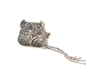 Vintage Openwork Unique Bag Box Locket Pendant Long Chain Necklace