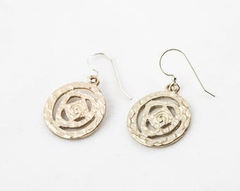 Vintage Gold Tone Round Spiral Dangle Earrings