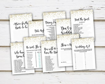 Printable Bridal Shower Game Bundle, Disney Love Songs, Digital Download, He Said She Said, Gold Confetti, Game Package, Simple, MB003