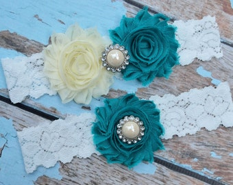 Wedding Garter, Ivory  Turquoise Garter Set, Beach Wedding Garter, Lace Garter, Keepsake Garter, Toss Garter, Beach Garter