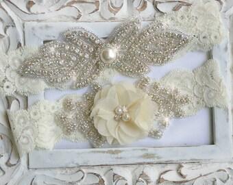 Wedding Garter Set,  Bridal Garter Set, Lace Garter, Rhinestone Garter, Crystal Garter, Pearl Wedding Garter Belt,Style  -GR 520