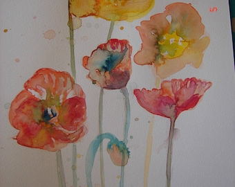 Poppy Watercolour Painting, Original Floral Watercolour Painting, Poppy art, Watercolour, Australian Art, Girls room decor, flower art