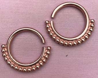 Mother India Ear Weights - 18ct Rose Gold Plated - Ear Hangers for Stretched Lobes