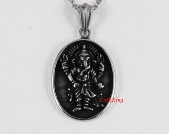 Deva Ganesha Cameo Necklace, Hindu Deity Ganesha Cameo Necklace, Hindu Deva Religious Necklace, LarkKing NE7062