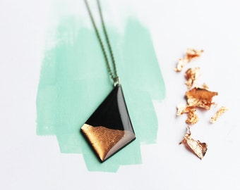 long necklace boho necklace bohemian chic necklace black and copper pendant necklace vinyl record pendant geometric necklace gift for her