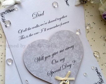 Will you give me away card with heart fridge magnet keepsake, Will you walk me down the aisle Personalised Will you give me away card  gift