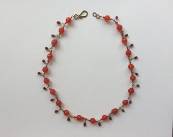 Carnelian & Garnet Wired Necklace