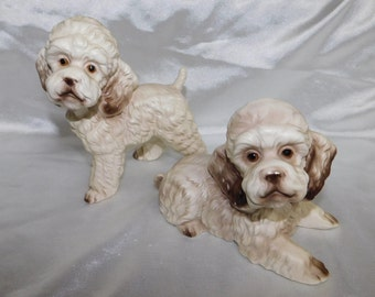 Pair Norleans Japan Cream Poodles Dog Foil Sticker Ceramic Figurines 1950s Poodle