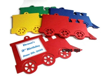 "Primary Colors 4"" Train Tags,Red, Blue, Green,Yellow Train Gift Tags or Choose Your Colors & Quantity-Personalized Train Favor Tags"