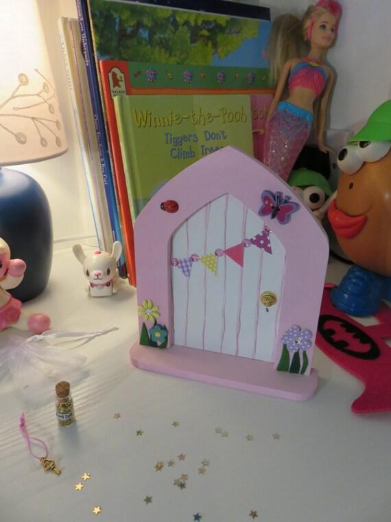 Pink fairy door with bunting pixie door tooth fairy for Princess fairy door
