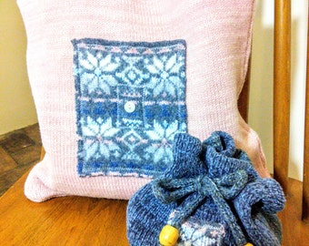 Ready To Ship Hand Made Knitted Felted/Boiled Wool Chenille Pink/Grey Snowflake Top Handle Hand Bag Tote & Matching Purse
