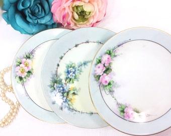 Set of 3 Handpainted Bavaria Floral Dessert Plates, German Plates, Wall Decor, Dinnerware, Serving Plate, Cottage Decor #A564