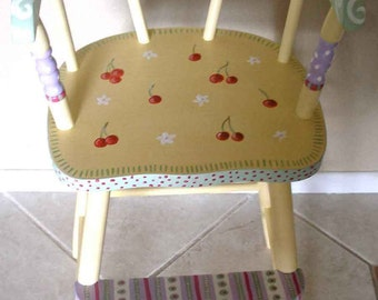 Cherries youth chair, hand painted furniture, kids furniture, painted high chairs