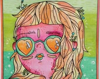 Scratchy & Sunburned/Cosmic Surfer - Original Drawing