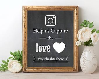 Wedding Hashtag Sign, Help Us Capture The Love, Wedding Hashtag Chalkboard Sign, Wedding Hashtags, PDF Editable Template