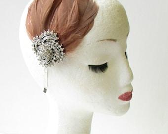 Brown Silver Feather Headband Fascinator Headpiece Vintage Diamante 1920s 1411