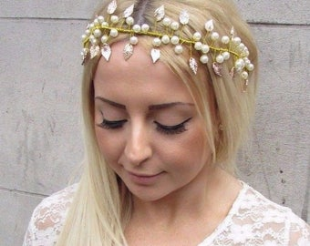 Gold Ivory Pearl Leaf Hair Vine Bridal Headpiece Headband Wedding Grecian 2510