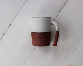 White ceramic Mug with Stripe base | One-off ceramic cup Handmade in Manchester, England | READY TO SHIP