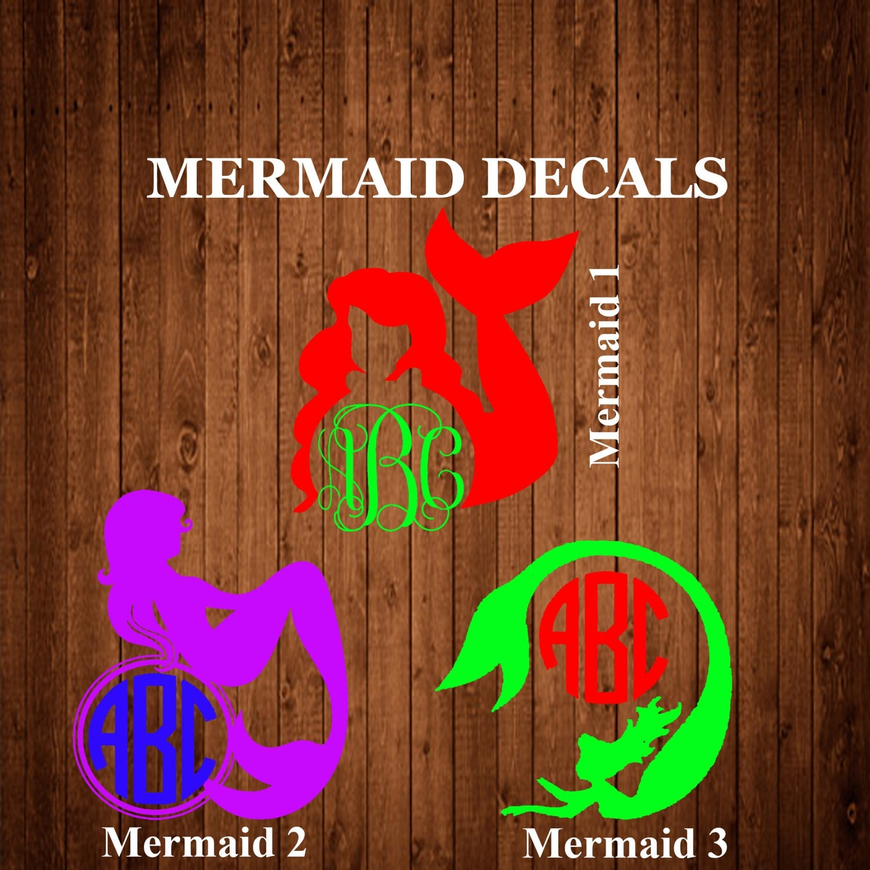 Mermaid Monogram Decal Mermaid Decal Mermaid Sticker Yeti - Monogram decal for car