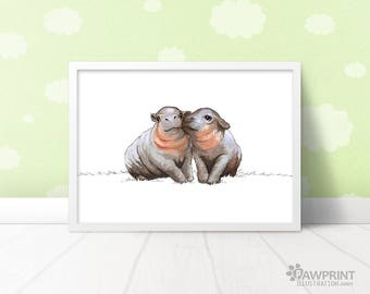 Hippo nursery art twin baby gift - hippo wall art baby shower gift, hippo nursery print twin nursery decor, safari nursery art, hippo gifts