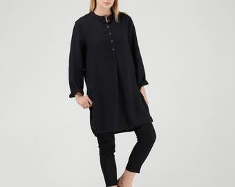 Black Linen Tunic / Black Linen Shirt / Long Linen Tunic Shirt / Maxi Loose Tunic Shirt / Oversized Linen Tunic Shirt