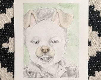 Medium Pencil + Watercolor Portrait