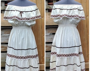 Vintage 1970's Beige and Brown Mexican Off the Shoulder Dress Summer Prairie