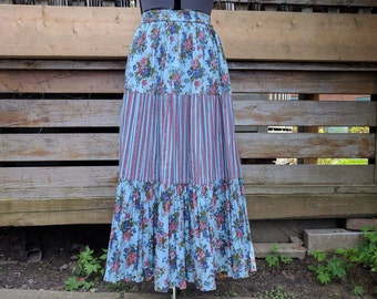 Vintage 1980's Pale Blue with Pink Stripes and Flowers Full Length Prairie Skirt Size Large