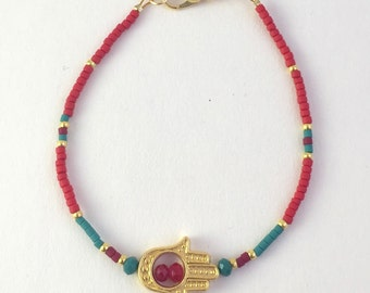 Red Friendship Layering Stacking Bracelet with Hamsa (Fatima's Hand)