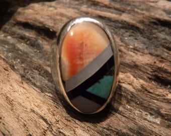 Large Vintage Mens Ring Zuni Native American Sterling Silver Size 8.5 Heavy 18.1 grams Turquoise Oyster MOP  Mens Ring Native American Ring