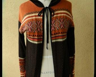Free Shipping, 1970's Hooded Sweater, Acrylic Knit, Hippie, Boho