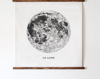 Full Moon Poster. La Luna Moon. Lunar Moon. Vintage Luna Print. Solar System Art. Celestial Dorm Room Art. Indie Space Art. Bohemian Poster.