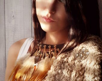 Bohemian Feather and Suede Layered Sienna Bib Necklace . Festival Fashion Statement Accessories