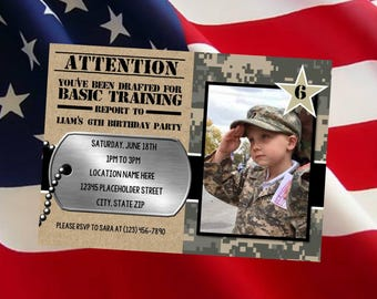 Army invite - Army Birthday invitation - Camo invite - Printable File