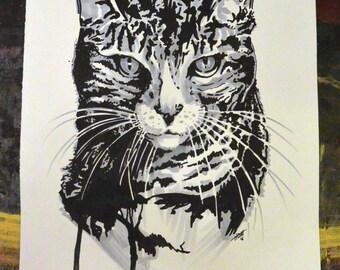 Tabby Cat Original Drawing