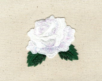 White Rose - Open Petals - Flower - Iron on Applique - Embroidered Patch - 153102-J
