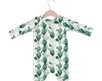 Watercolor Cactus Organic Cotton Baby Long Sleeve Romper